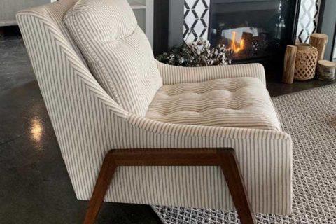 Chair near fireplace