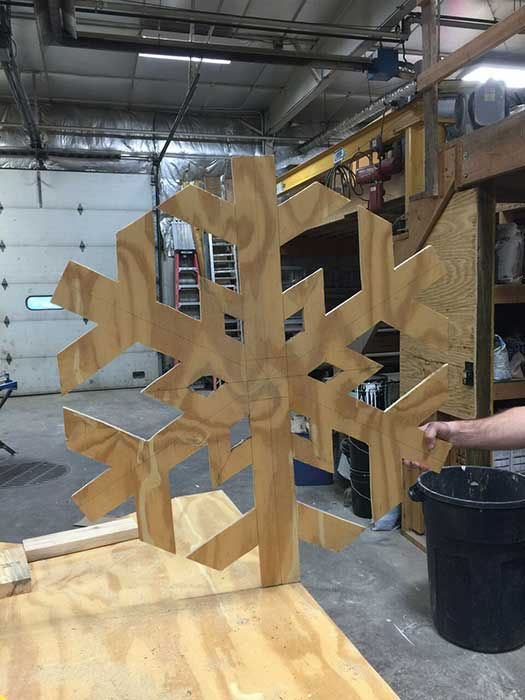 wood pattern of snowflake