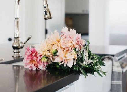 Flower bouquet on the cabinet
